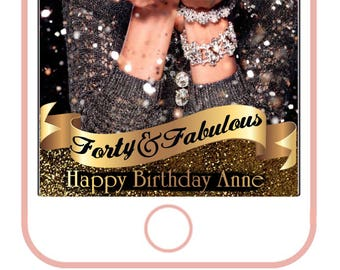 forty & fabulous, 40th birthday filter,50th birthday snapchat filter,60th, 80th,birthday snapchat filter,golden birthday, golden anniversary
