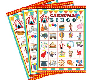 Carnival  BINGO 30 Printable Cards, circus bingo,big top bingo, party game,carnival game,customized bingo,circus theme party,printable bingo