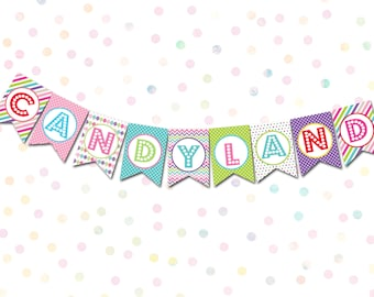 candyland printable banner instant download candyland decorations candyland party candy decorations candyland bunting