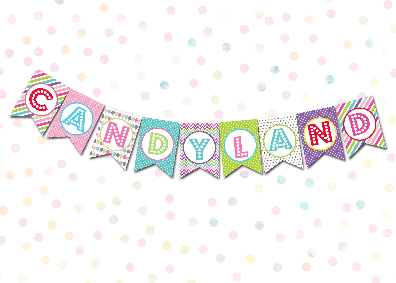 Candyland Printable Banner Candyland Decorations Candyland Etsy