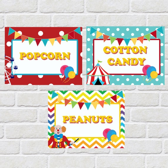 Carnival Food Tent Food Card For Carnival Theme Party Circus Themed Party Printable Digital File Only
