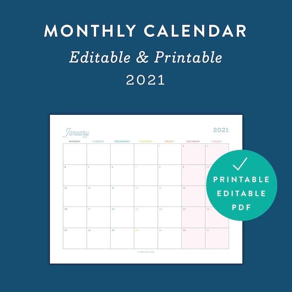2021 Monthly Printable Editable Calendar Monthly 2021 Etsy