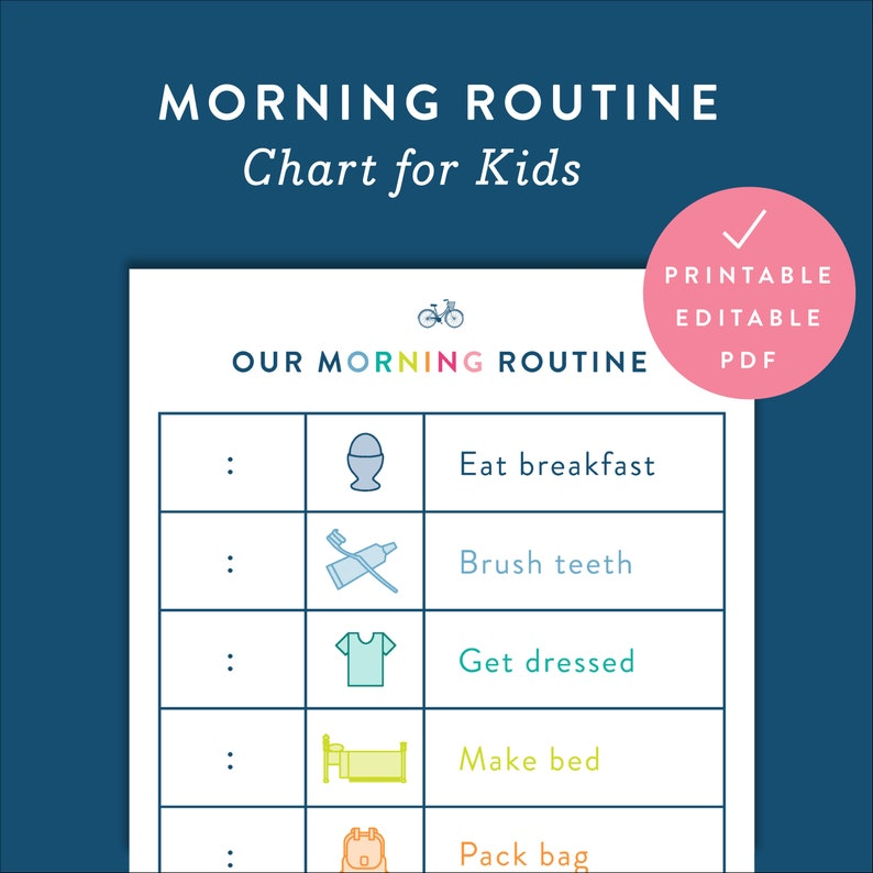graphic relating to Morning Routine Checklist Printable known as Children Early morning Agenda Chart Printable Fillable Editable Electronic PDF File