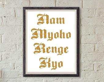 Printable Nam myoho renge kyo art wall art home decor Spirituality glitter printable quote printable buddhism