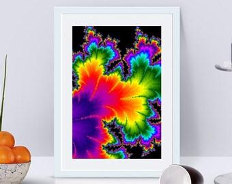 Abstract print printable wall art printable abstract art fractal art Psychedelic printable poster wall art prints violet living room art