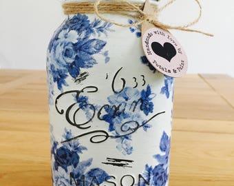 Handmade Antionette Blue Roses Mason Jar