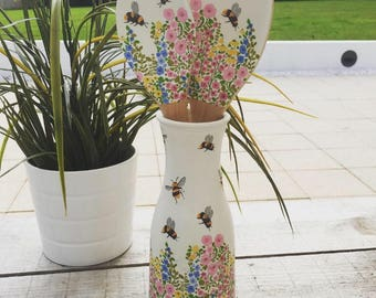 Handmade Meadow Bees Vase and Wooden Spoon and Spatula