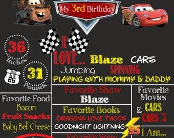 Cars birthday party chalkboard sign. Birthday poster/chalkboard poster. Cars Birthday party