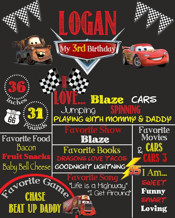 Cars Theme Birthday Party Chalkboard Sign