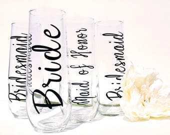 Bridal Party Champagne Flutes | Bridesmaids Glasses | Maid of Honor Champagne Flutes | Personalized Stemless Champagne Flutes
