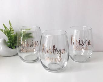 Personalized Stemless Wine Glass | Name + Title | Bridal Party Wine | Maid of Honor + Bridesmaid Wine Glasses