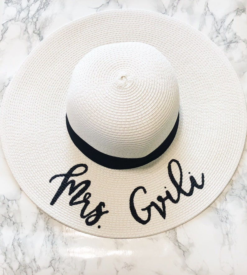 06f9e00fdc1b6 Hand Lettered Sun Hat Personalized Floppy Hat Custom
