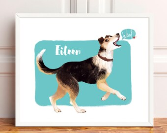 Custom pet portrait, cat, dog, personalized digital illustration, unique gift, pet memorial, pet loss gift, birthday, anniversary gift