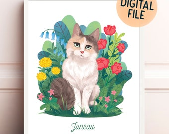 Custom pet portrait - floral background drawing of your pets - cat or dog lover gift idea - printable wall art