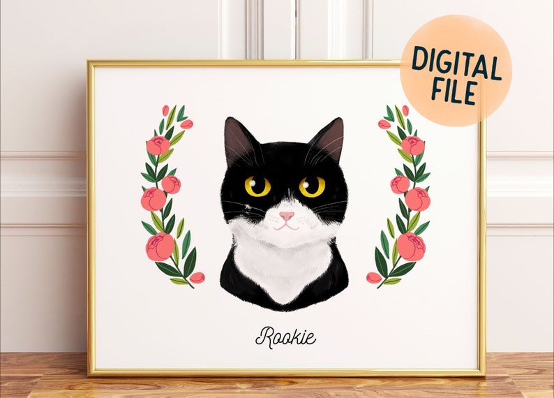 Custom Pet Portrait  Drawing from photo  Cat or dog image 0