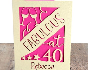 40th Birthday Card Personalised Fortieth For Daughter Sister Mum Aunty Niece Friend