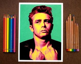 Verde - James Dean  Portrait Print