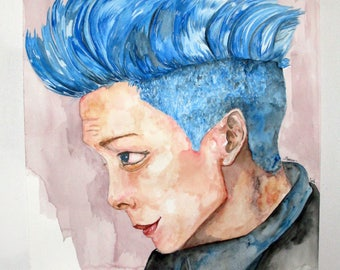 watercolor, Bigbang, TOP, kpop fan art.