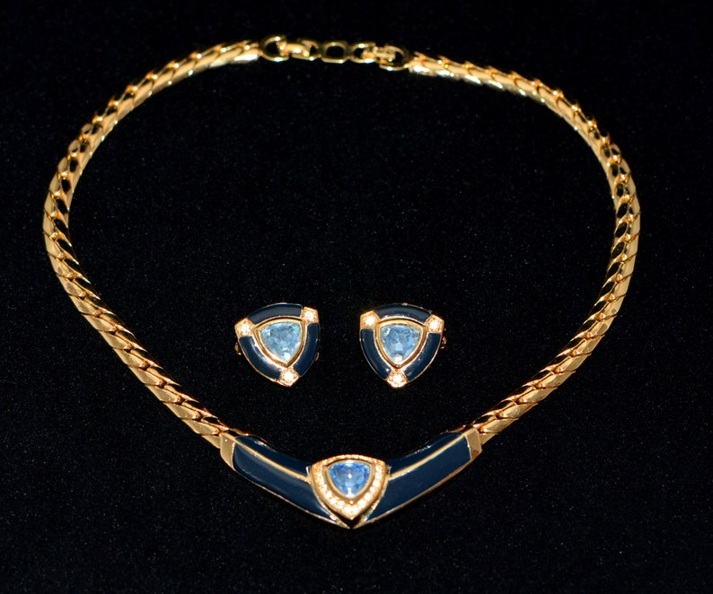35e3a37c11827 Vintage Christian Dior Jewelry Set, Dior Choker & Clips Set, Art Deco  Jewelry, Vintage High Fashion Dior Accessories, Vintage gifts.