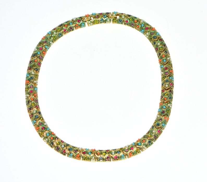 Statement Necklace Vintage 70s Jewelry Gifts Gift-for-Her. Magnificent Vintage Multi color Beads Rhinestones Choker Necklace