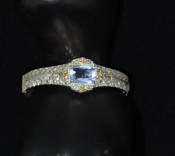 Vintage Art Deco ALLCO Blue Rhinestones Rhodium P… - image 3