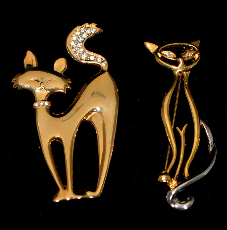 Vintage gifts Cat Lover Gift Vintage Jewelry Vintage Christmas gifts. Vintage 80-s Jewelry Vintage Cats Brooches Pins Gifts-for-Her