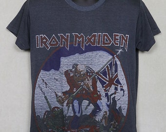 18f8e031 Iron Maiden t-shirt, The Trooper tee shirt, vintage rare faded black, soft  and thin, Judas Priest Megadeth Metallica Slayer, metal