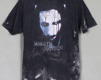 Marilyn Manson t-shirt, faded black, tie-dye, double sided