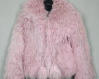 ea486d59dc7 Pink Mongolian lamb jacket
