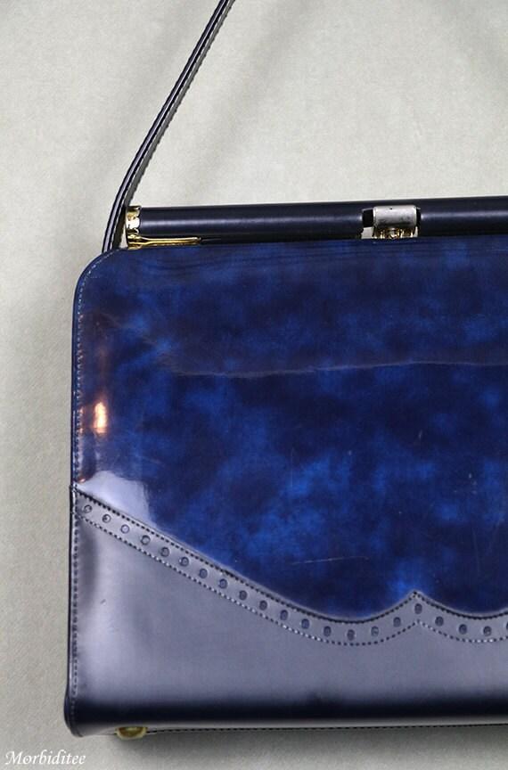 1950s Kelly handbag, bag purse, marbled blue viny… - image 2