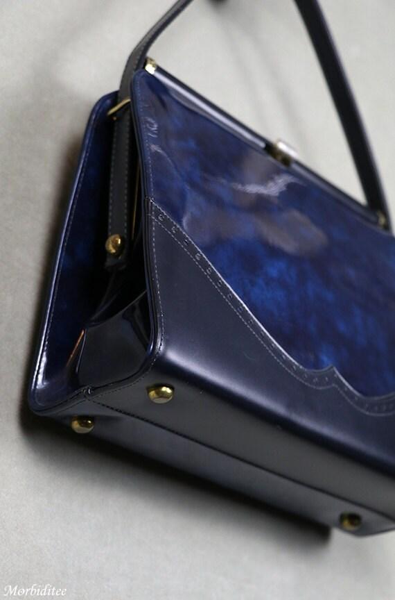 1950s Kelly handbag, bag purse, marbled blue viny… - image 3