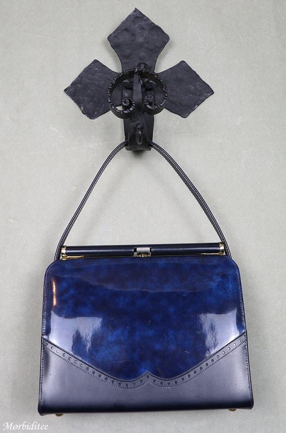 1950s Kelly handbag, bag purse, marbled blue viny… - image 1
