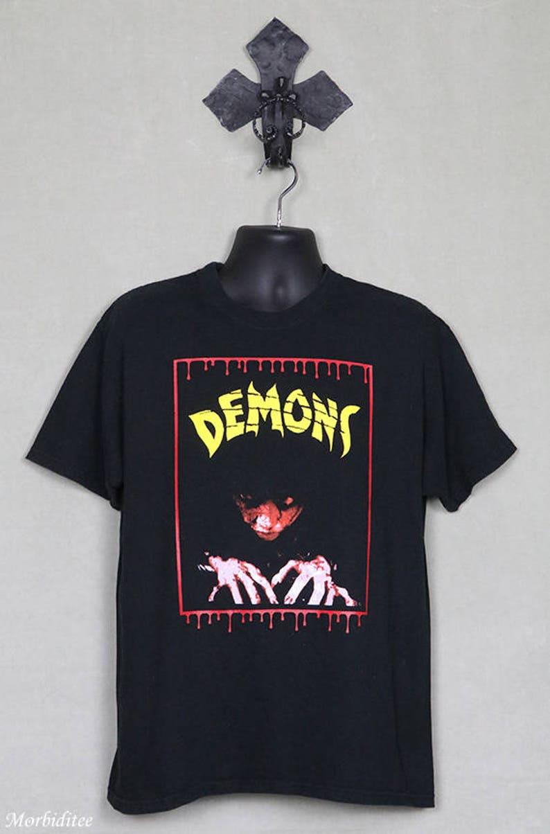 Demons, horror movie T-shirt, Lamberto Bava, zombie cult film, 1980s  Italian Italo horror, Dario Argento, Lucio Fulci, George Romero