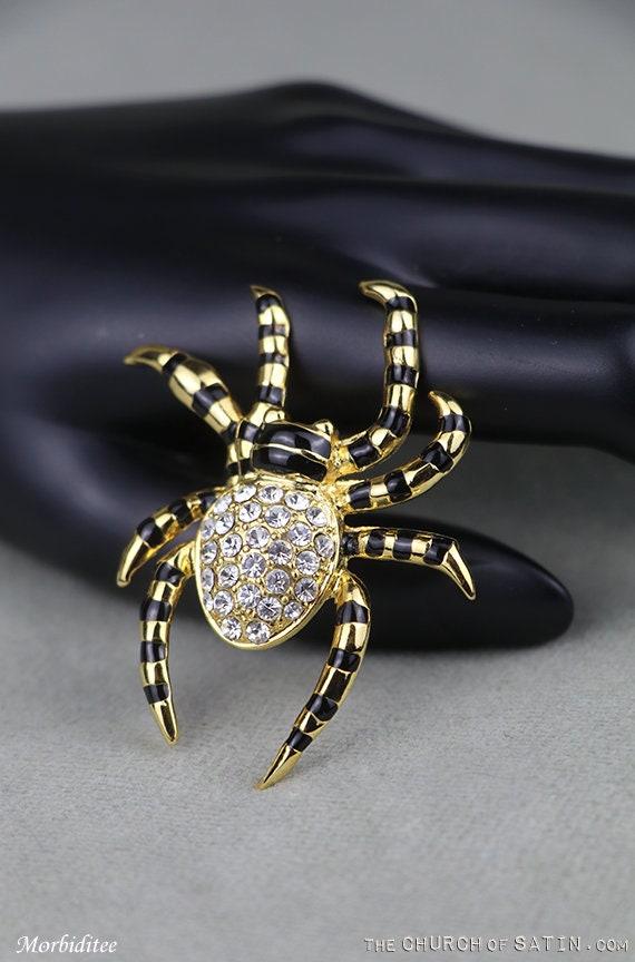 Noir émail cristal strass Halloween Spider Fashion Jewelry Broche Cadeau