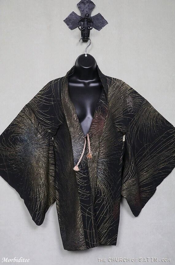 Vintage silk Haori kimono, black gold silver metal