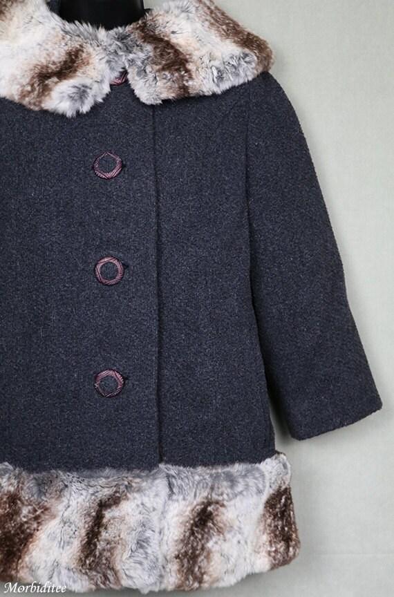 1960er Jahre grau Wolle Mantel, Pelz Kragen & Saum, 1950er Jahre 50er Jahre 60er Jahre, kurze Wintermantel Jacke, Jackie Kennedy Stil