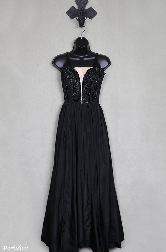 1940 beaded black gown, sequined taffeta evening d