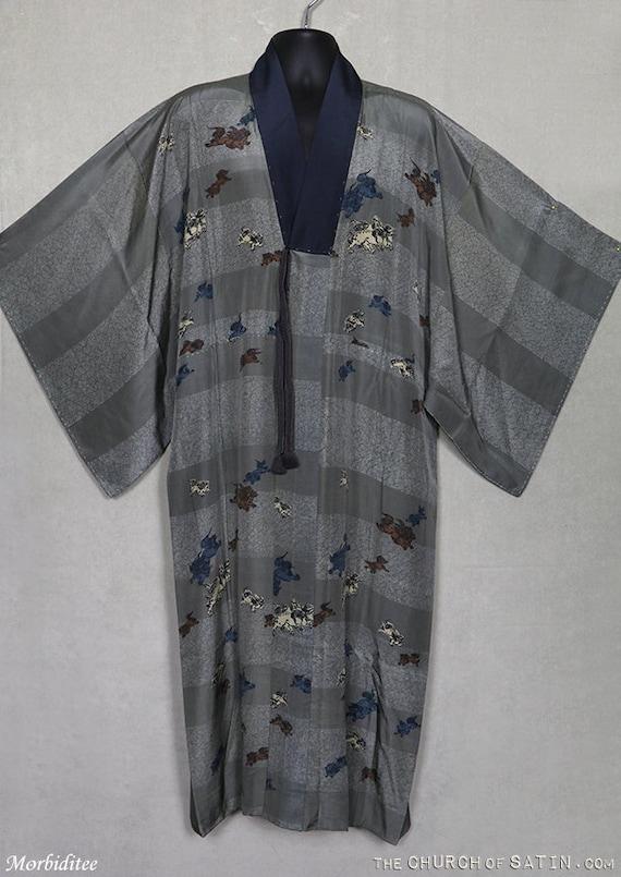 Antique silk kimono robe, mens Foo Dog dressing go