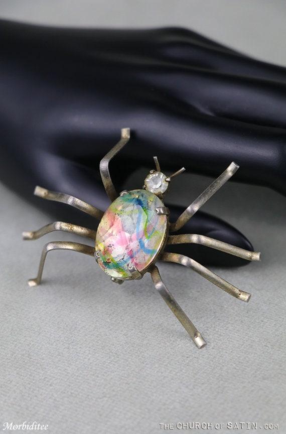 Antique glass spider brooch, vintage art glass jew