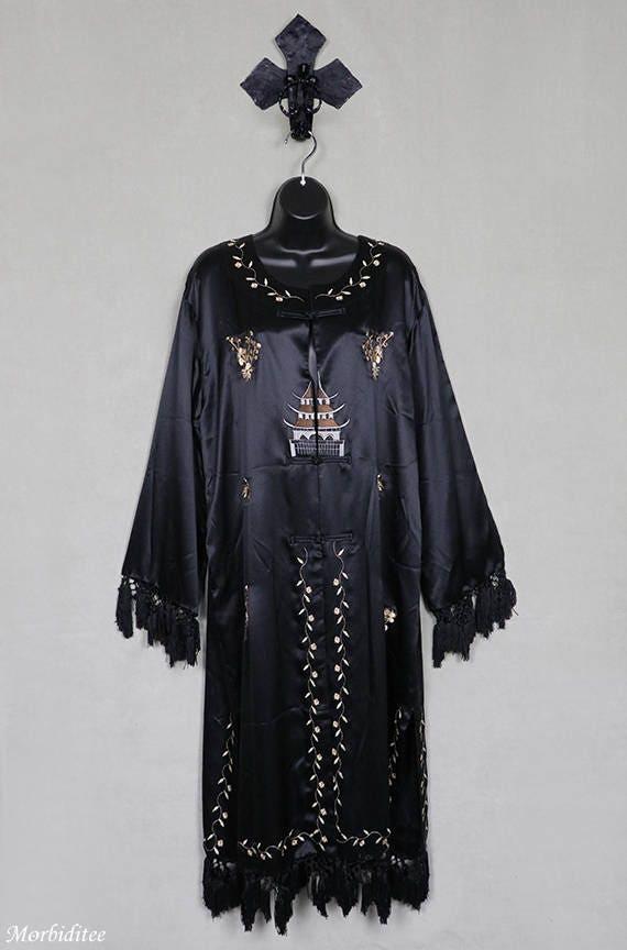 Vintage black silk robe or coat or dressing gown,