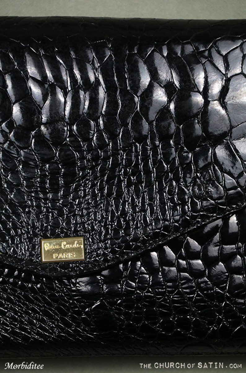cheaper lowest price timeless design Pierre Cardin croc patent leather handbag purse, black hand bag brass,  snakeskin crocodile alligator skin style cow leather, clutch shoulder