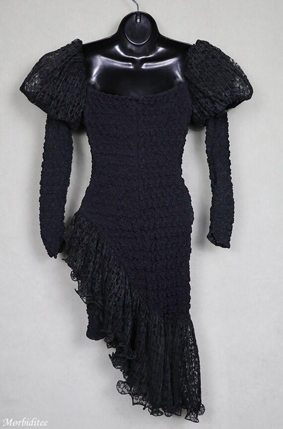 1980s black dress, stretch lace, avant garde, got… - image 4