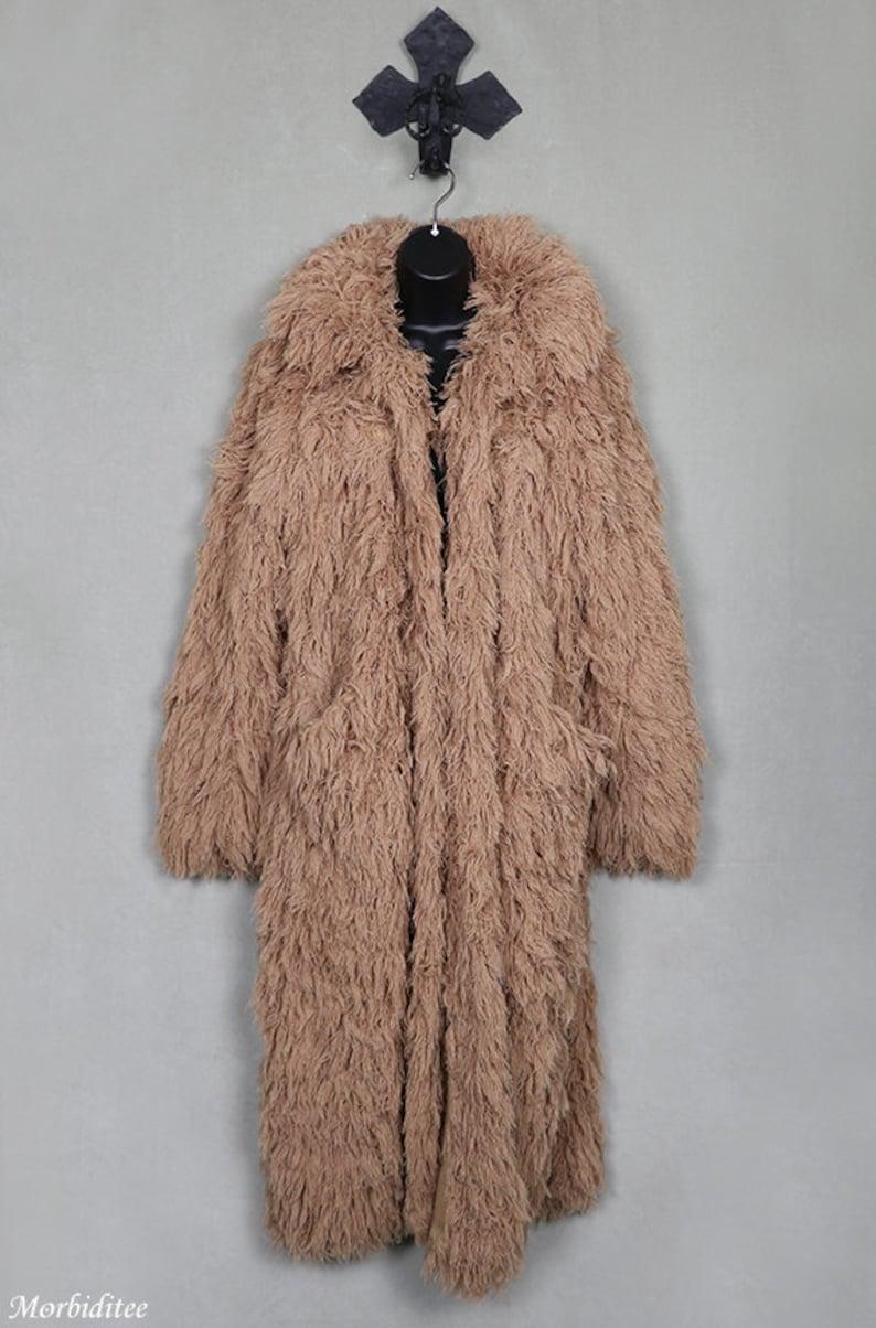 e2679cc614a2 Big shaggy yeti coat beige string fluffy shaggy jacket