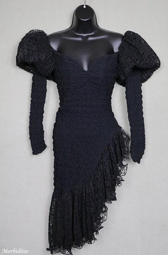 1980s black dress, stretch lace, avant garde, got… - image 2