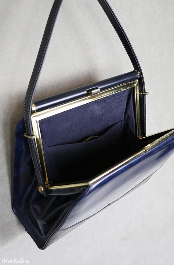 1950s Kelly handbag, bag purse, marbled blue viny… - image 4