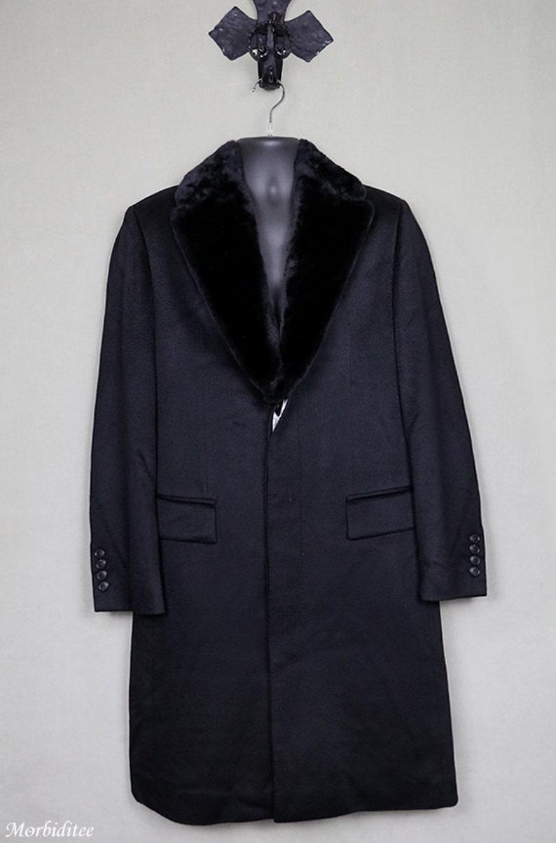 quality design 33516 87aad Herren Jahrgang Hugo Boss schwarz Kaschmir-Mantel, Pelz-Kragen, langen  Mantel, Entwerfer Couture, große