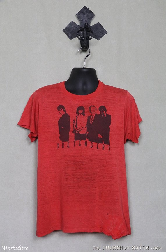 Pretenders t-shirt, soft thin red tee shirt, vinta