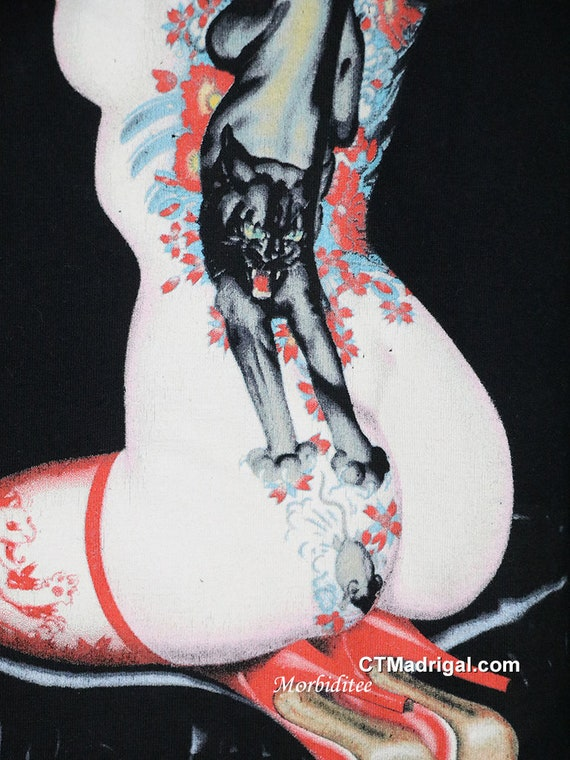 Bettie Page t shirt vintage rare punk horror Andy… - image 5