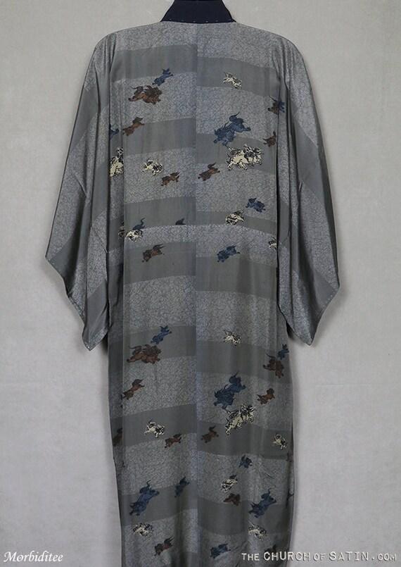 Antique silk kimono robe, mens Foo Dog dressing g… - image 4