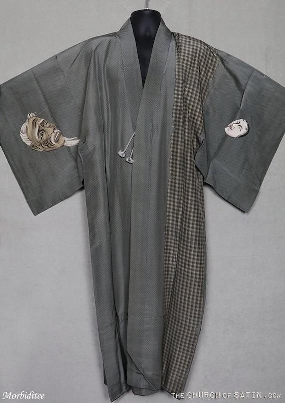Antique silk devil mask kimono robe, mens dressing
